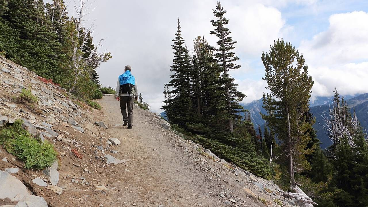 Middle aged man hiking up a mountain trail, grief, loss, Next Avenue