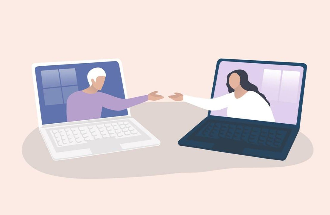 An illustration of two people reaching out to connect through two computers. Book, memoir, Next Avenue