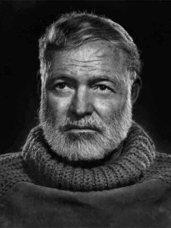 Black and White image of Hemingway wearing turtleneck sweater, Next Avenue