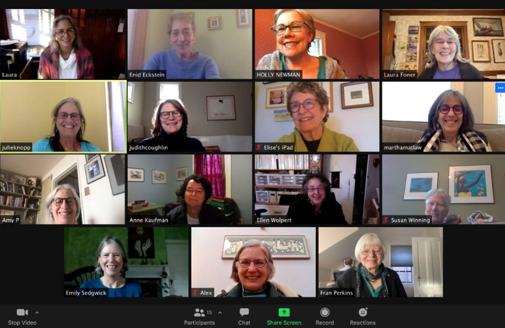 Screenshot of a women's support group Zoom call. Women's group, retirement, Next Avenue