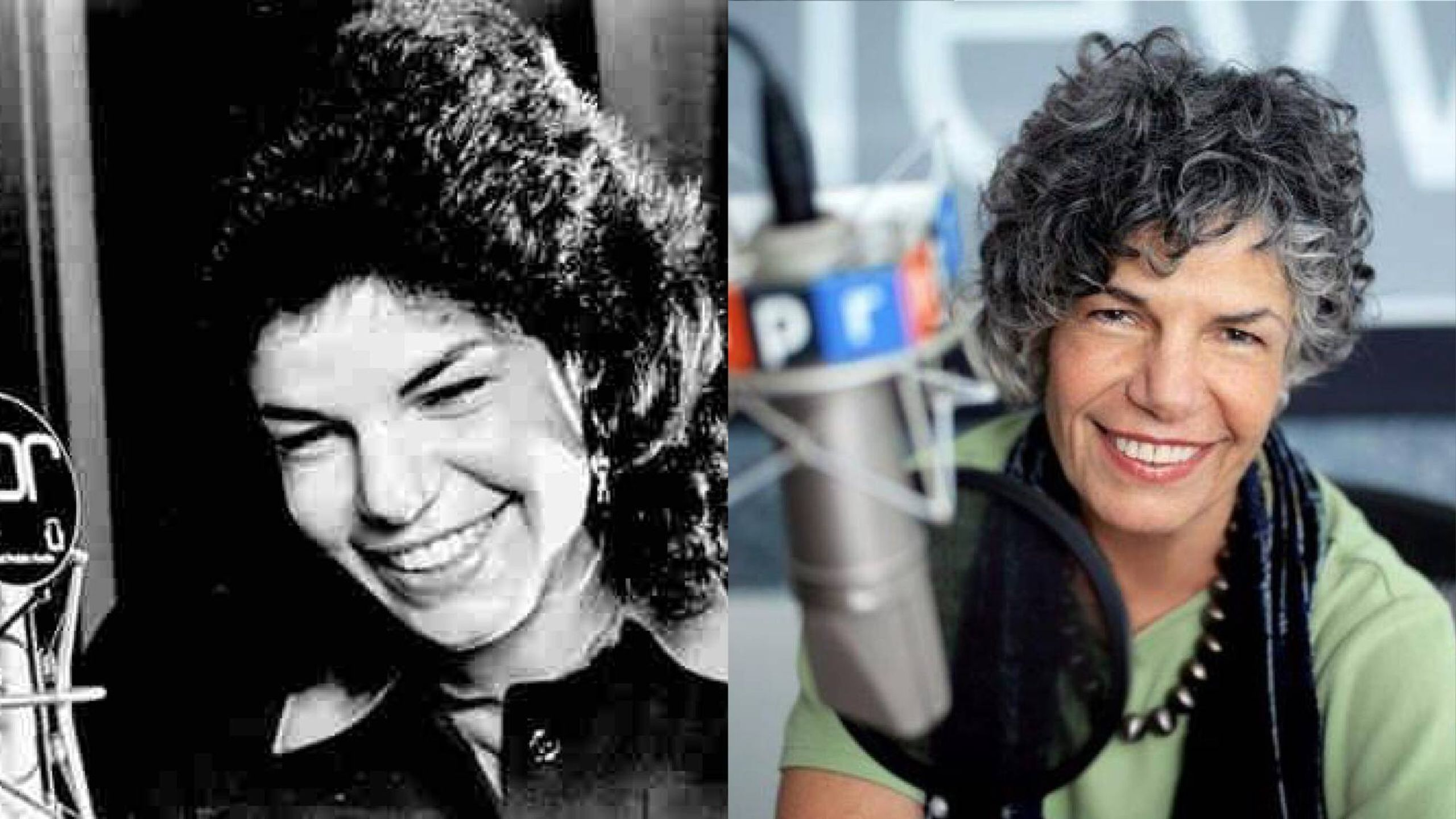 Then and now, photo of another founding woman journalist from years ago and another modern photo.