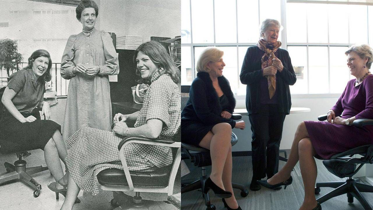 Then and now, and old photo of the three journalistsnext to a modern photo of the three journalists. NPR, Founding mothers, Next Avenue