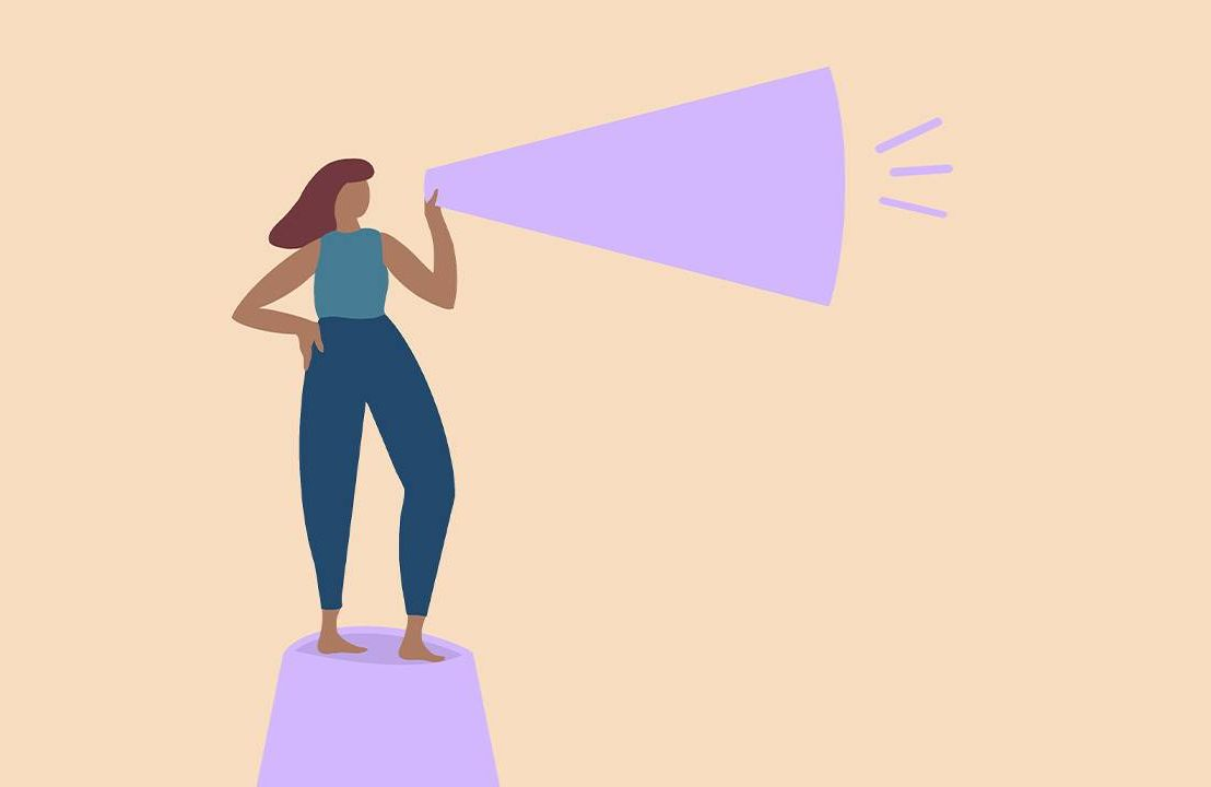 Illustration of a woman standing up speaking through a megaphone. Racial injustice, inequity, Next Avenue