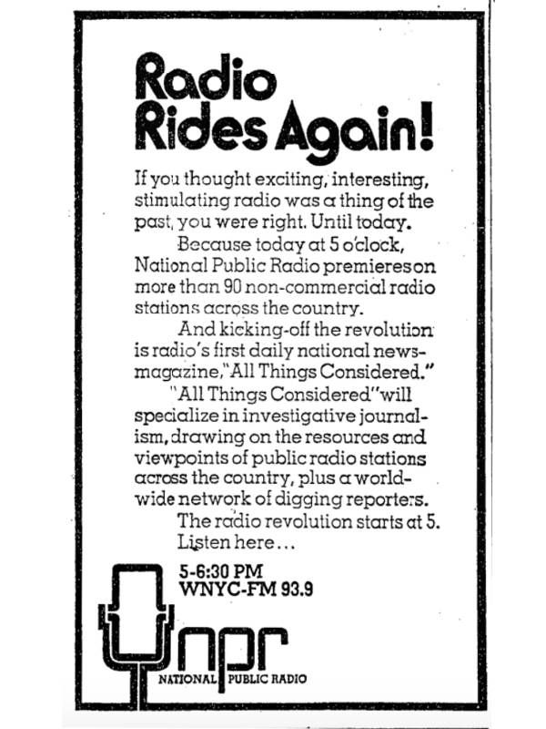 Clip of old NYT ad titled 'Radio Rides Again'. NPR, Founding Mothers, Next Avenue