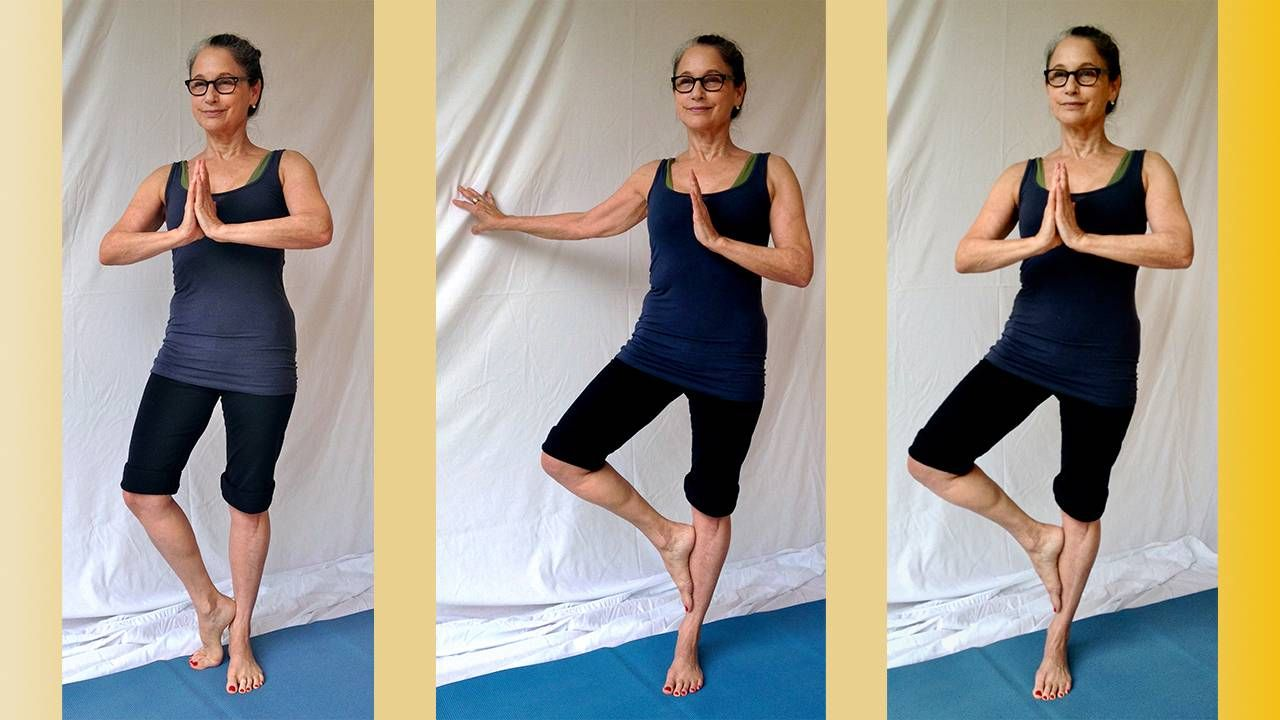 Compilation of three photos showing the progression of the triangle pose, yoga, Next Avenue