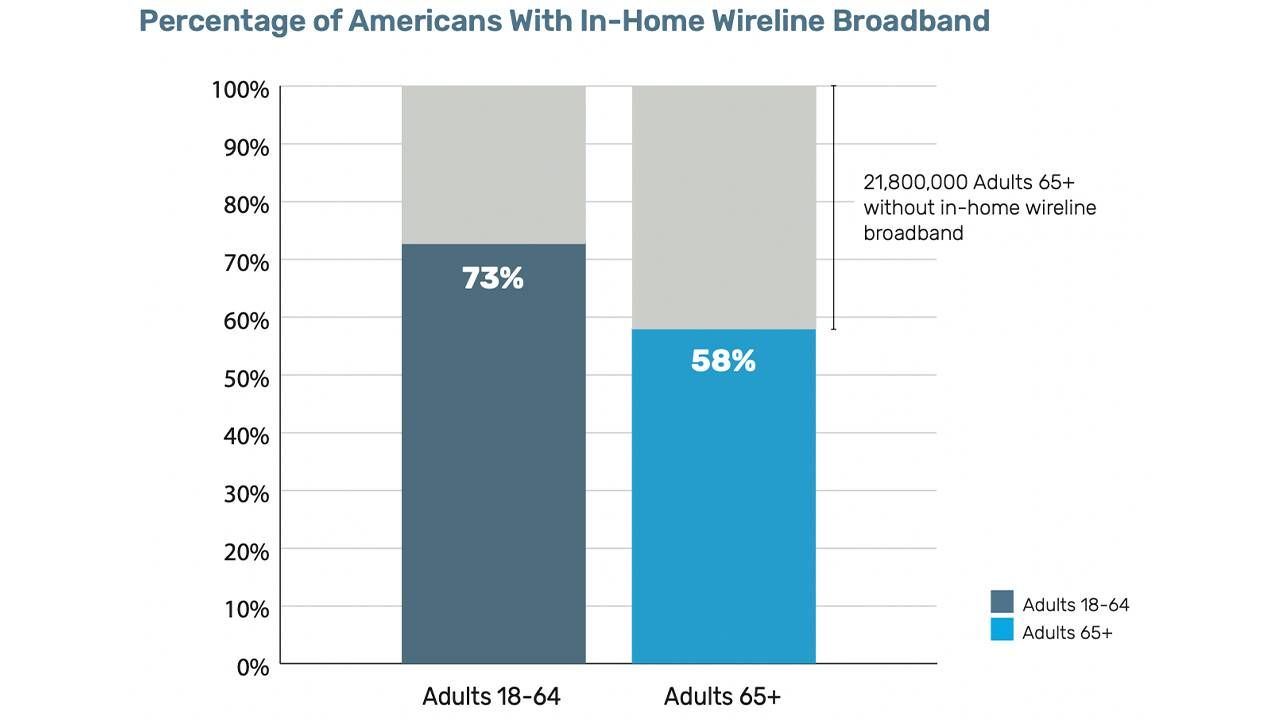 A chart showing a lower percentage of 65+ with internet compared with younger adults. Internet, digital divide, Next Avenue