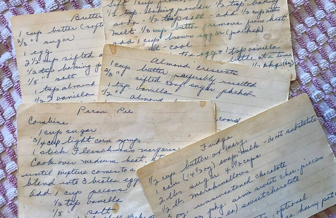 Closeup of old family handwritten recipe cards. Family, cookbook, recipes, Next Avenue