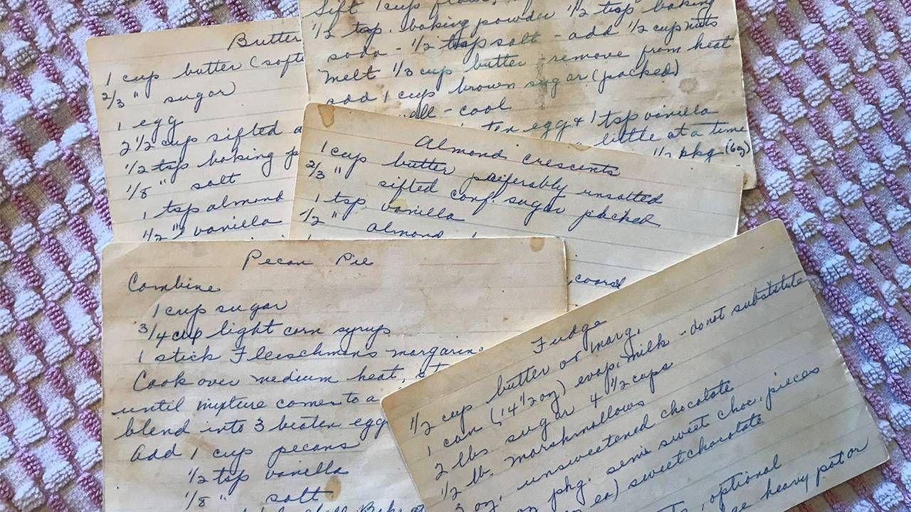 Closeup of old family handwritten recipe cards. Family, cookbook, recipes, Next Avenue