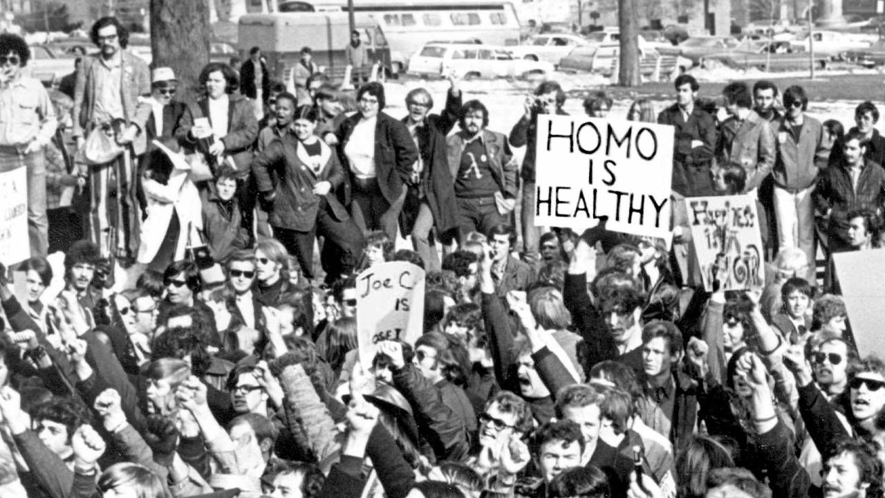 An old photograph of a group of LGBT activists. 'CURED' documentary, Next Avenue