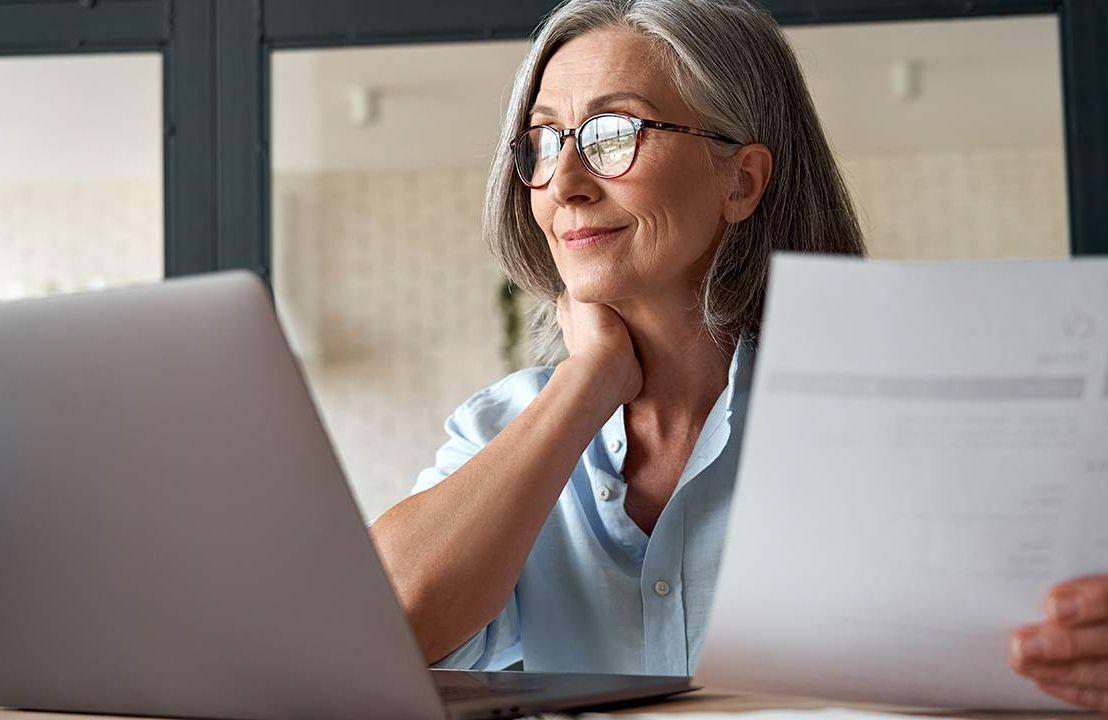 A middle aged woman having a virtual job interview. Job, jobs, interview advice, Next Avenue