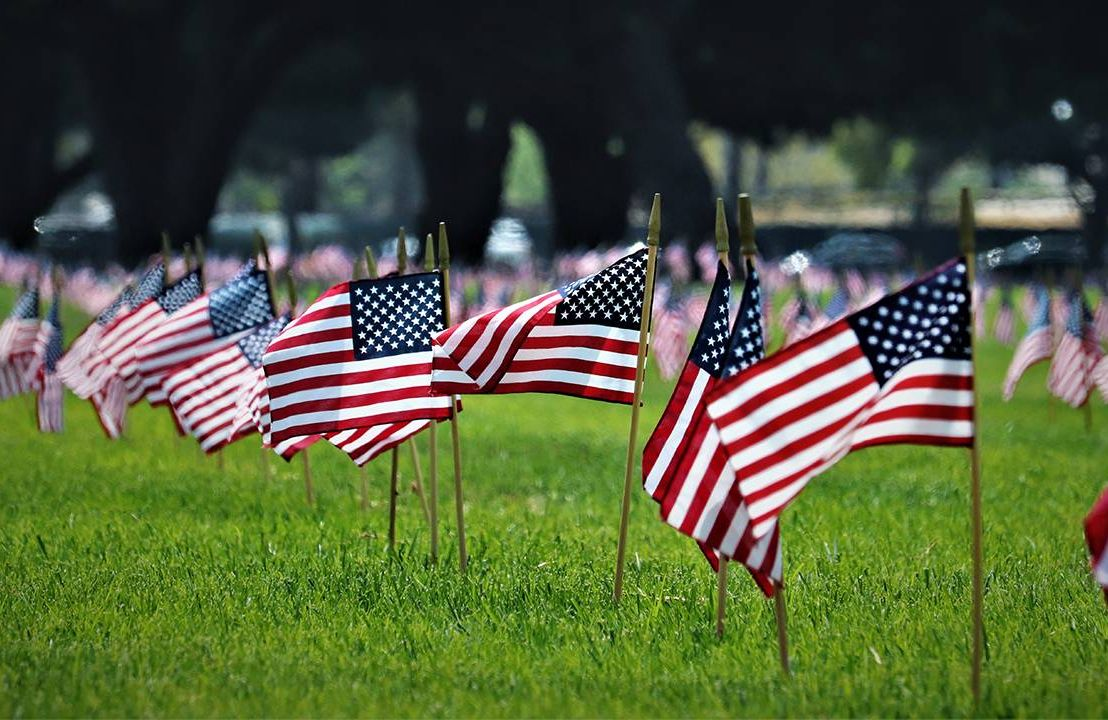 Memorial Day flags flying at the Los Angeles Cemetary. Next Avenue, Pandemic