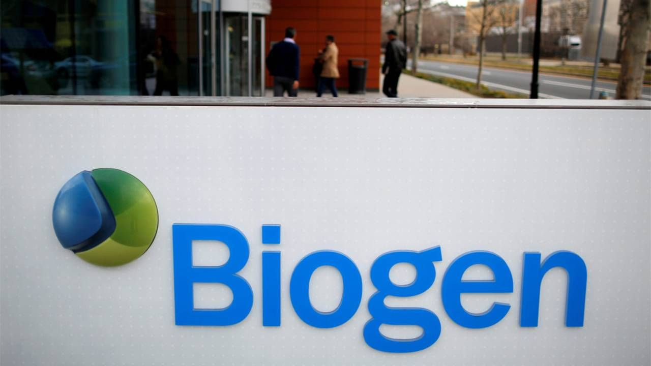 A sign of the Biogen company. new Alzheimer's drug, aducanumab, Aduhelm, FDA, Next Avenue
