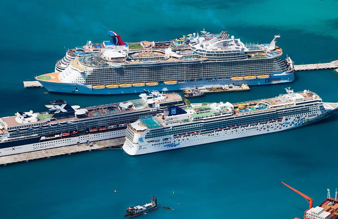 Aerial view of cruise ships docked in the Carribbean. Cruise, trip, travel, Next Avenue