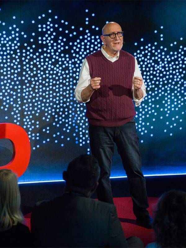 An older man speaking on the TED stage. Entrepreneurs, Next Avenue