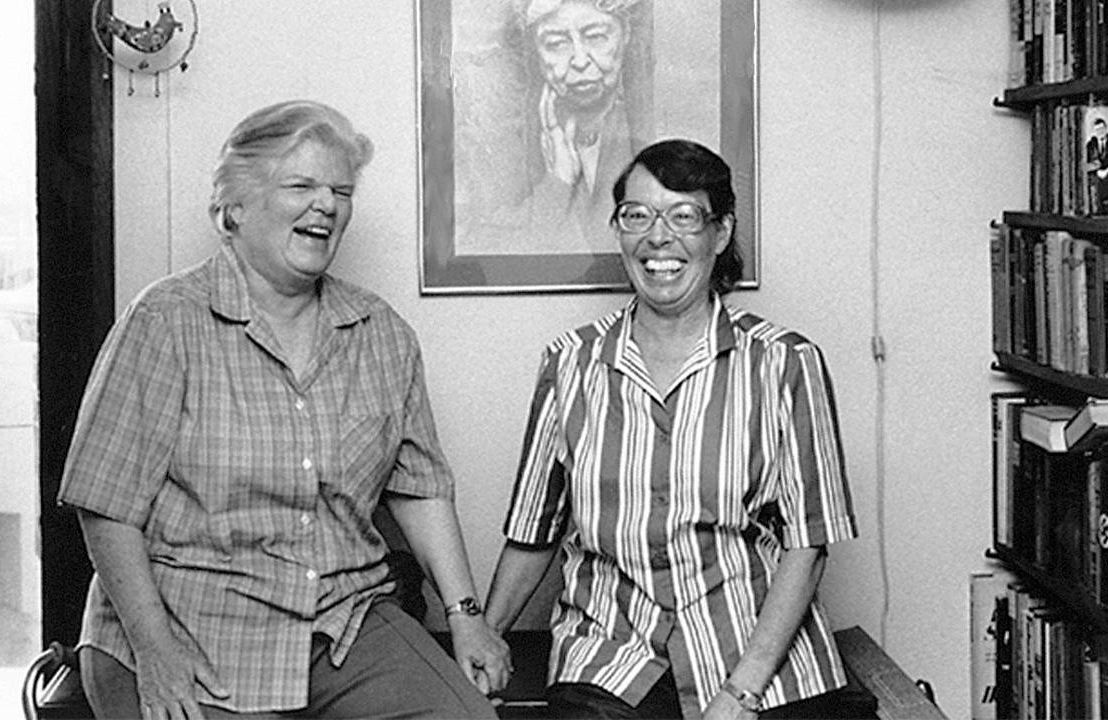 Black and white photo of the two LGBTQ activists in their home. Lyon Martin house, lesbian activists, Phyllis Lyon, Del Martin, Next Avenue