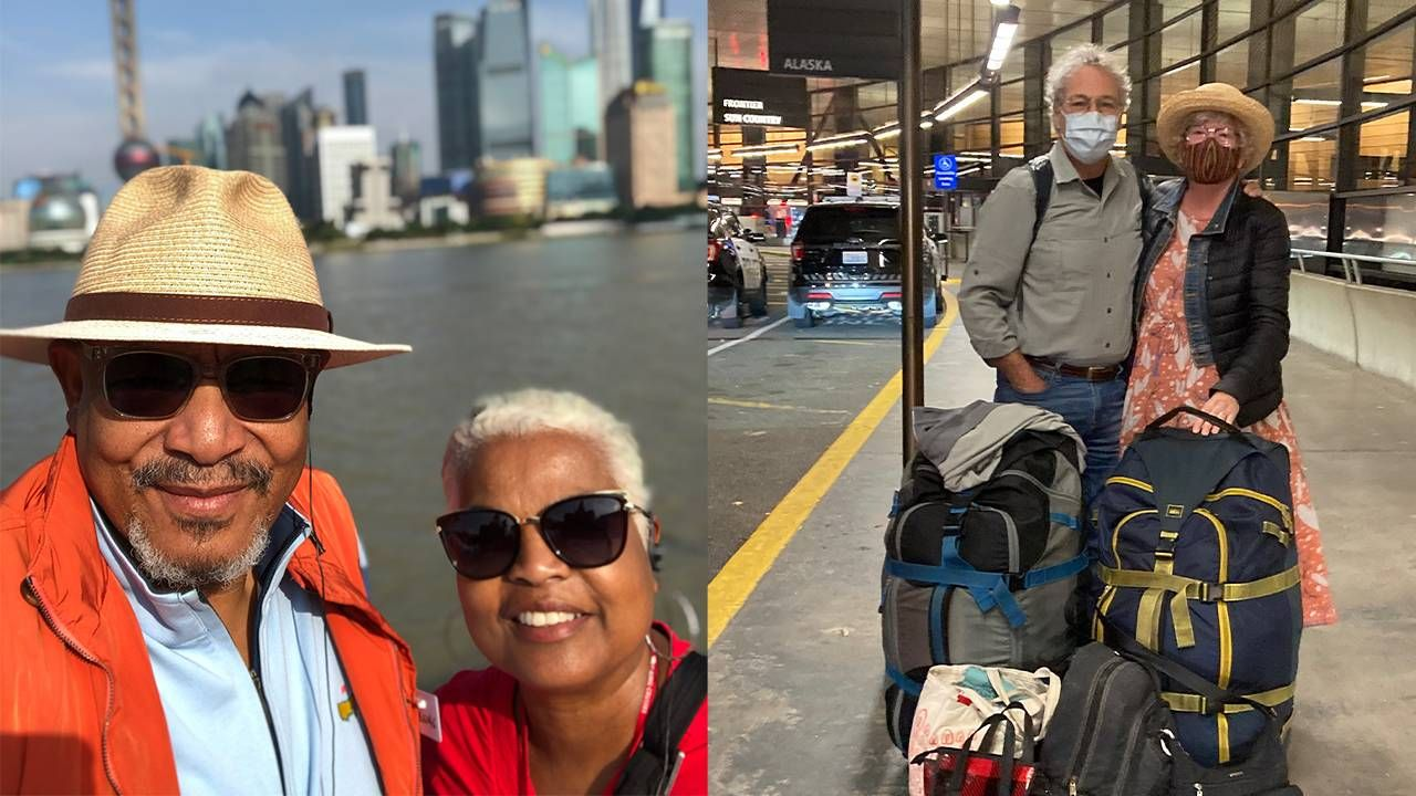 Side-by-side images of a couple smiling with the Shanghai airport behind them, and a couple smiling at the airport. Traveling, senior nomads, travel, Next Avenue