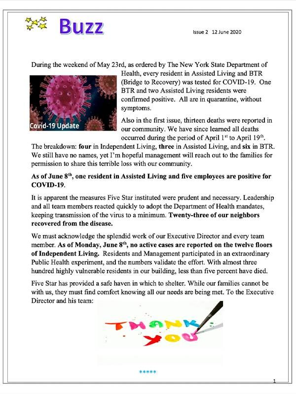 The front page of The Buzz newsletter. COVID-19, Independent living, Next Avenue
