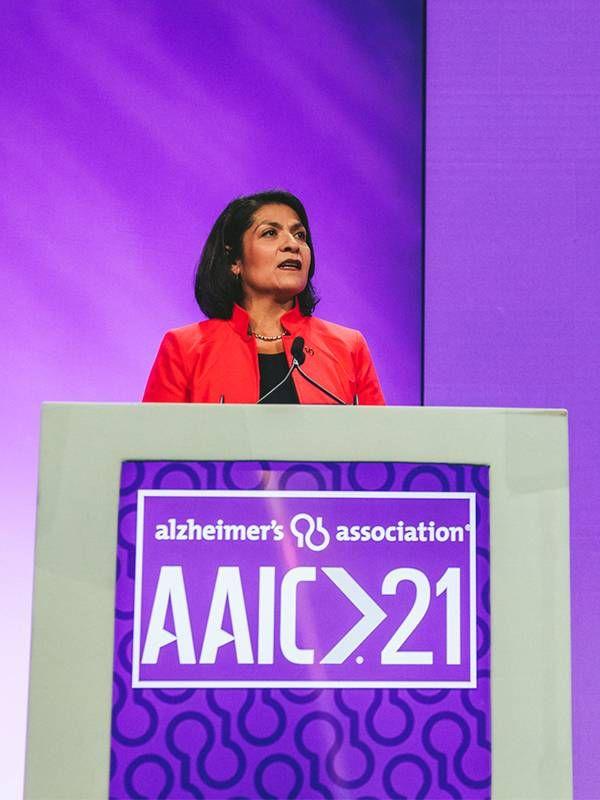A speaker at the Alzheimer's Association International Conference 2021. Next Avenue