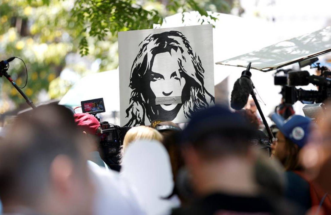 """Protesters holding up a """"free Britney"""" poster. Conservatorship, Britney Spears,Next Avenue,"""