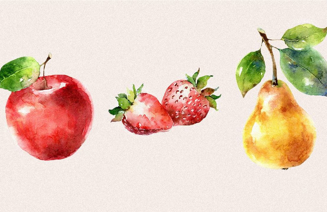 watercolor illustration of an apple, strawberry and pear. fruitful retirement