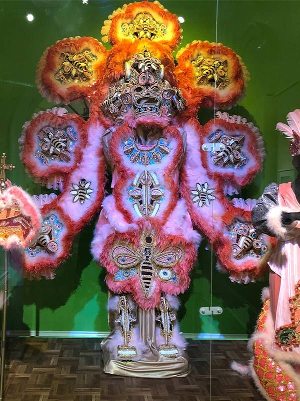 An intricatly designed Mardi Gras Indian suit with honey bee designs. Next Avenue, dancing