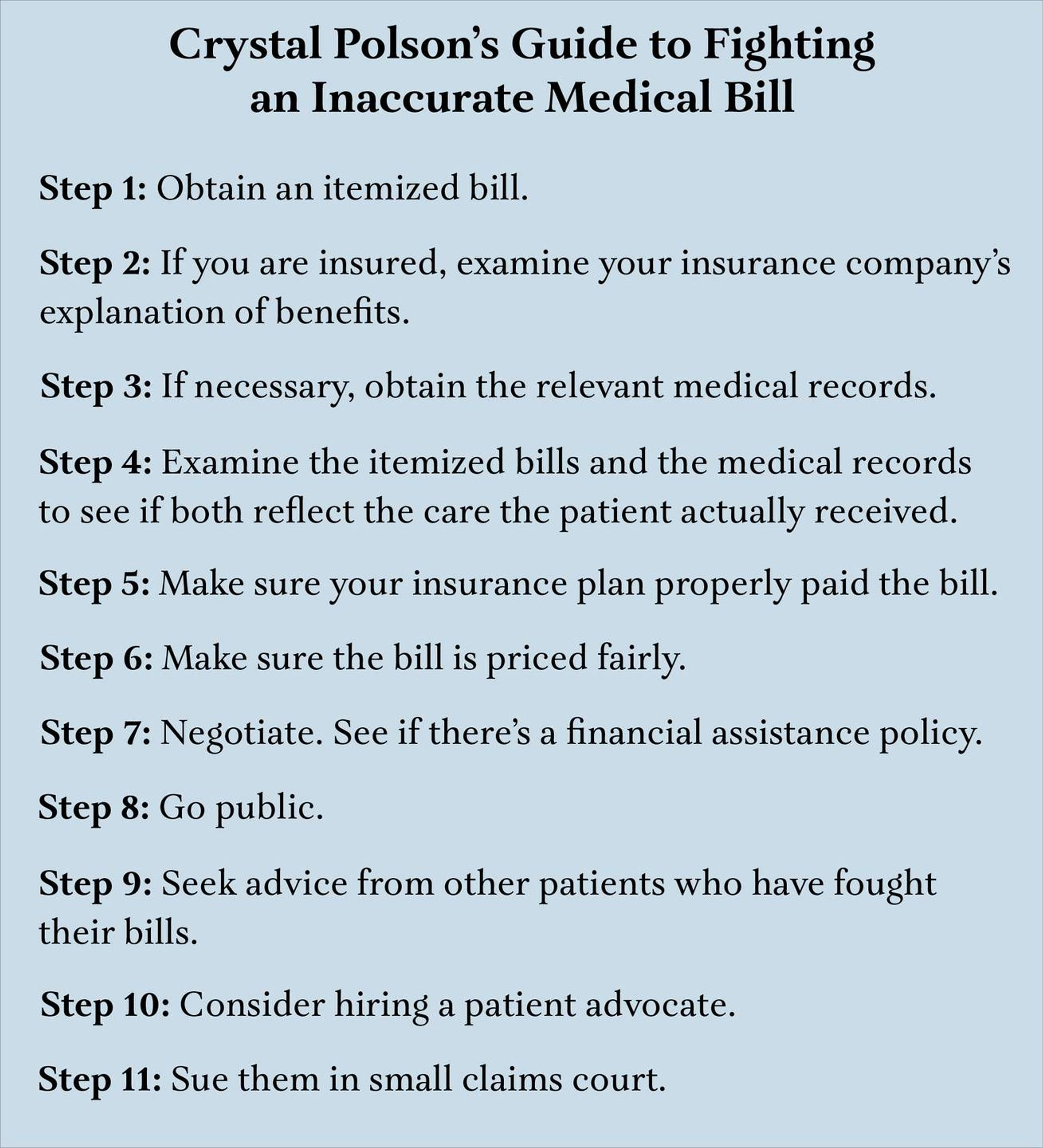 Graphic of the author's guide to fighting an inaccurate medical bill. Next Avenue, medical bill, health care