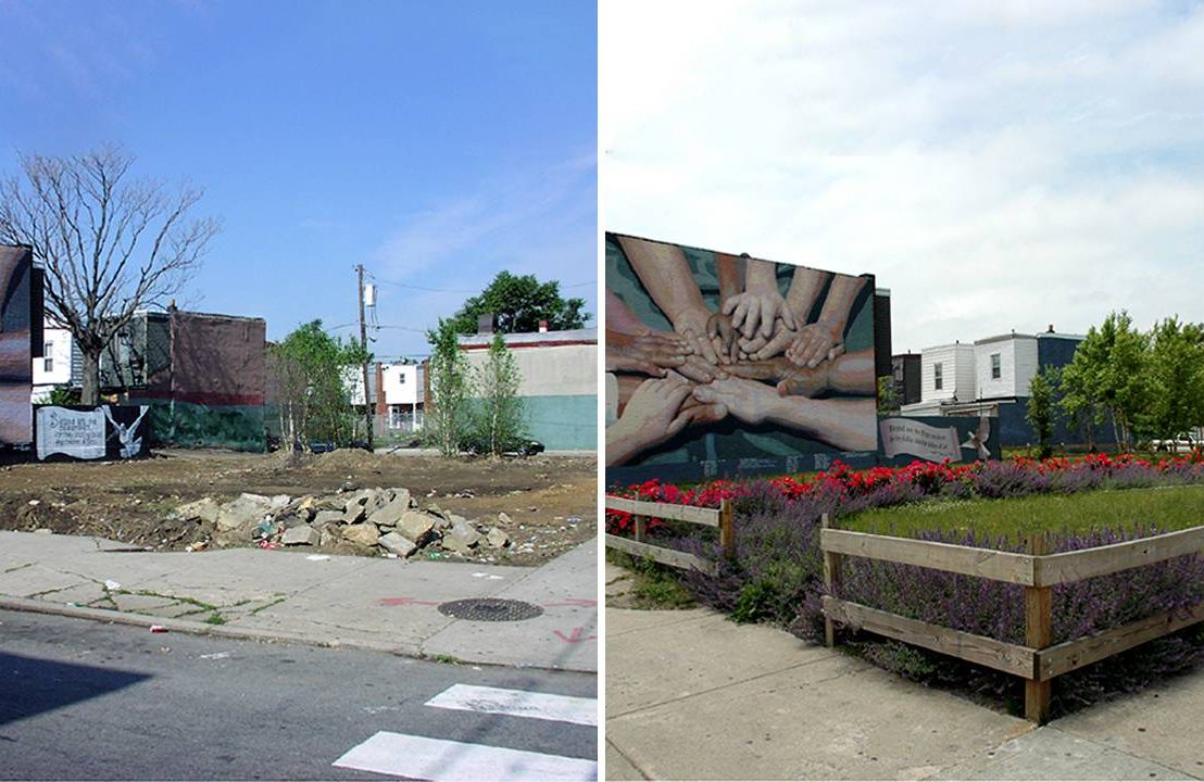 A before and after shot of a cleaned up mini-park. Next Avenue, parks, mental health