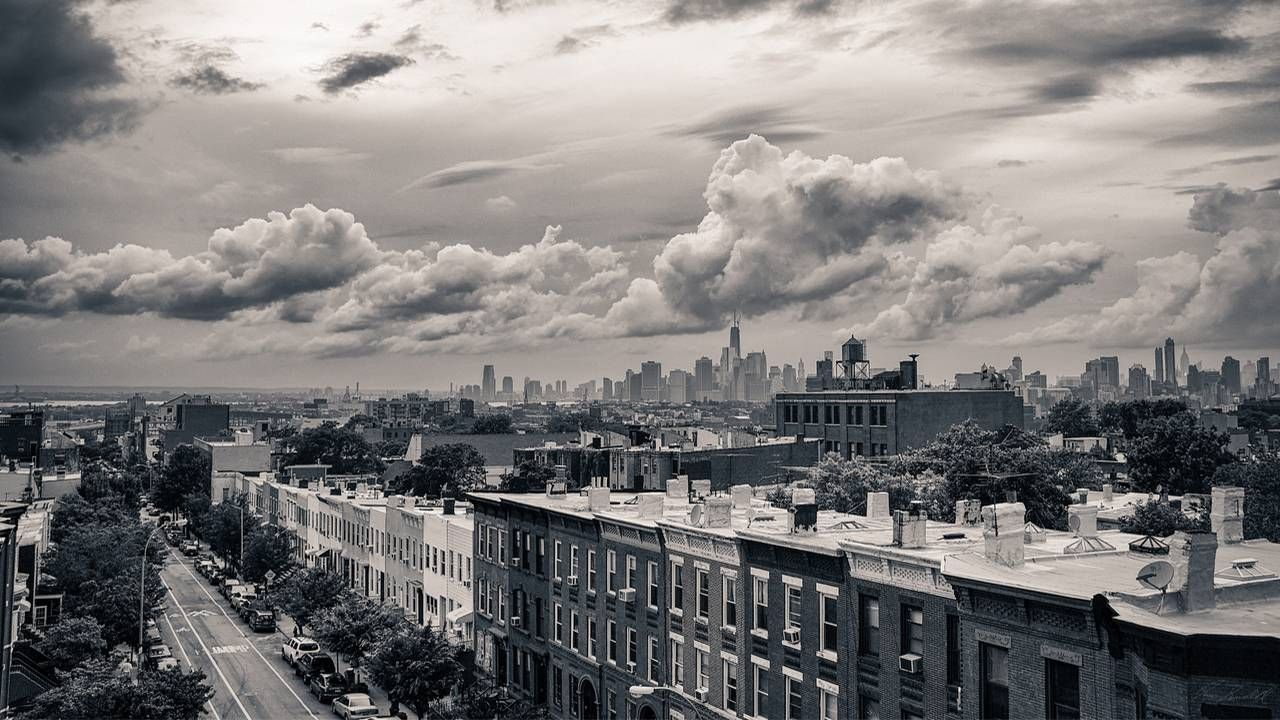 Black and white photo of rooftops in Brooklyn, NY. Photography, photographer, Next Avenue