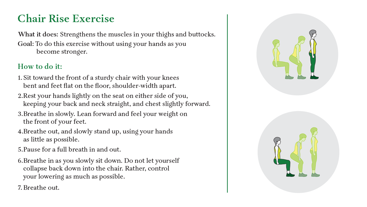 A guide to the Chair Rise Exercise. Next Avenue, mobility, falls, falling, pandemic
