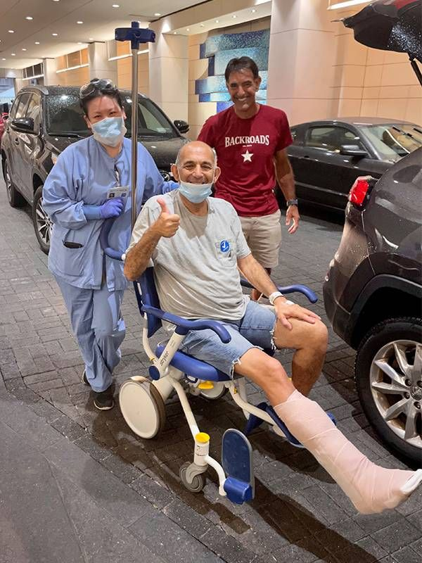 The author in a wheel chair after his surgery. Next Avenue, surgery recovery