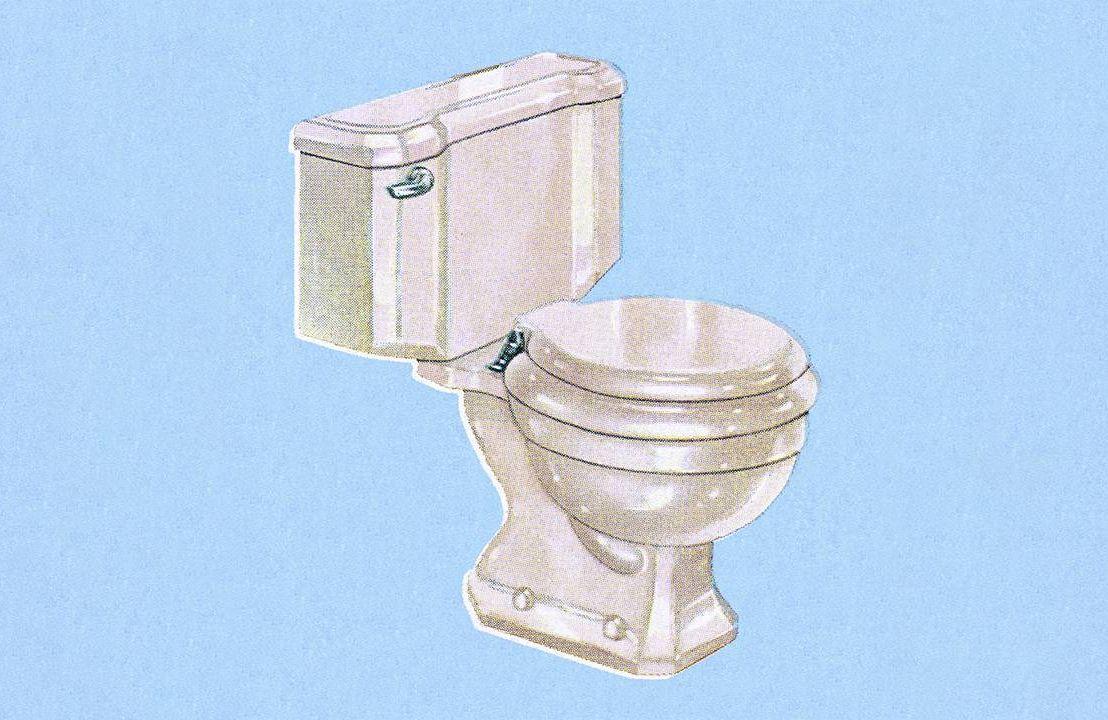 A vintage illustration of a toilet. Next Avenue, constipation, fiber, diet