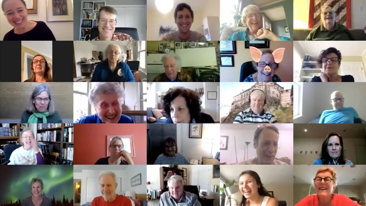 A group shot of people on Zoom. Next Avenue loneliness, intergenerational