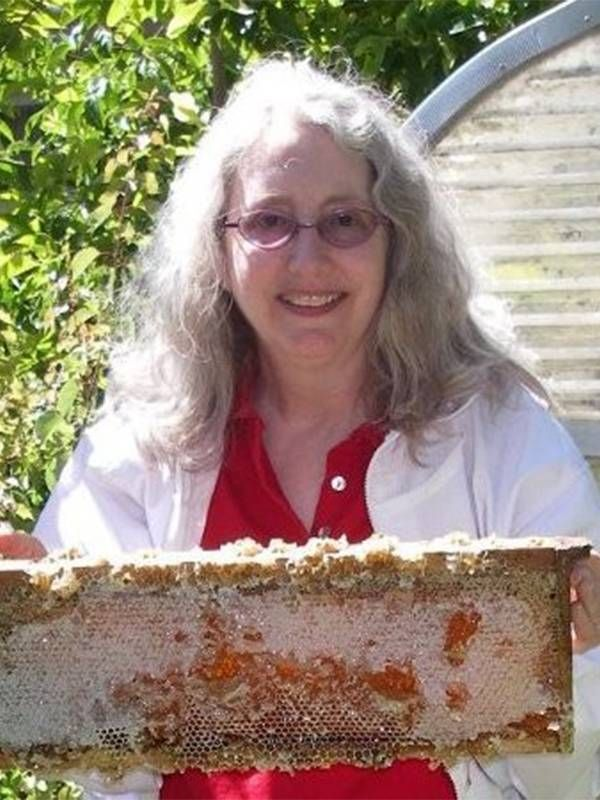 Alexis Kurland holding up a rack of honey from honey bees. Next Avenue, health care, ageist, ageism
