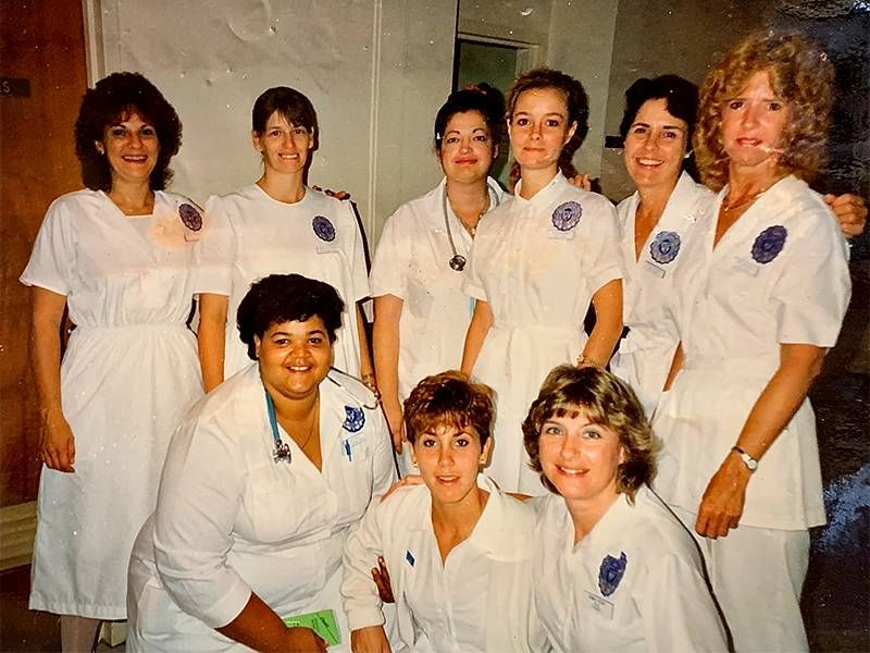 An old photo of a group of nursing students. Next Avenue, malaria, mother, mom