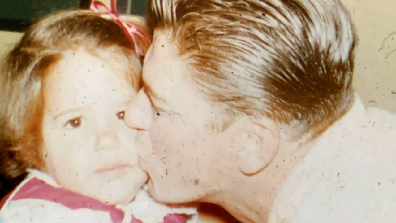 Patti Davis as a child, and her father, Ronald Reagan. Alzheimer's