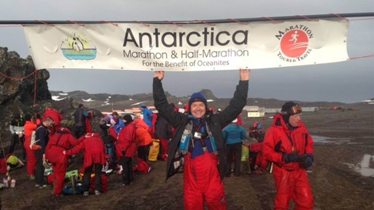 The author after completing a marathon in Antarctica. Next Avenu, second act, Michael Clinton