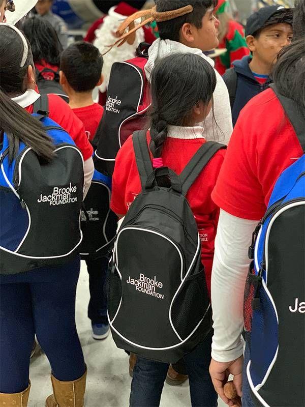 "School children wearing backpacks with, ""Brooke Jackman Foundation"" wrritten on them. Next Avenue, 9/11, September 11"