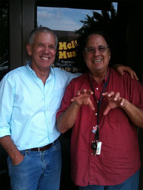 The author with a man wearing a red shirt. Next Avenue, montage career