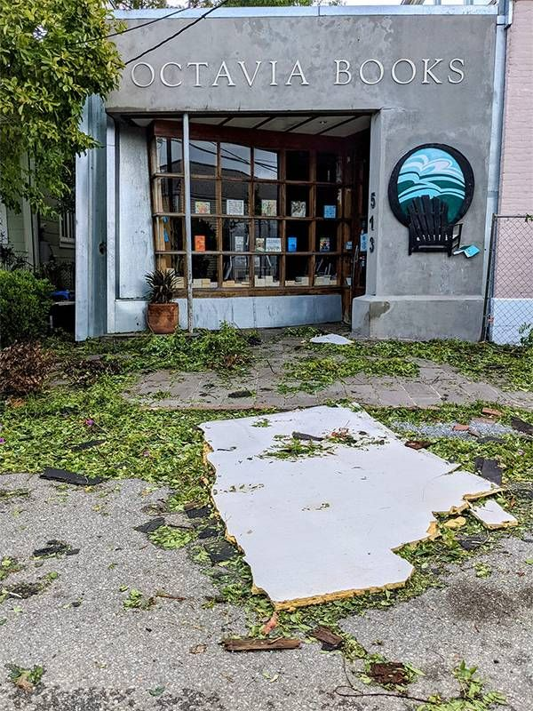 Octavia Bookstore showing debris and damage from Hurricane Ida, Next Avenue, new orleans