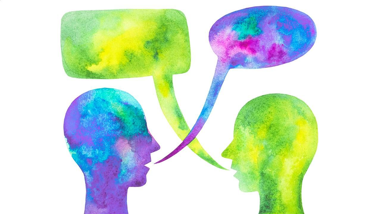 A water color painting of two people actively listening. Next Avenue, listening health, benefits