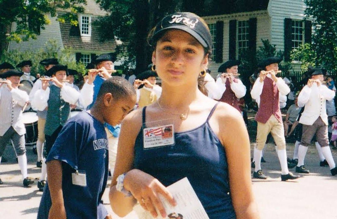 The author as a middle schooler standing near a parade. Next Avenue, 9/11, september 11, middle school