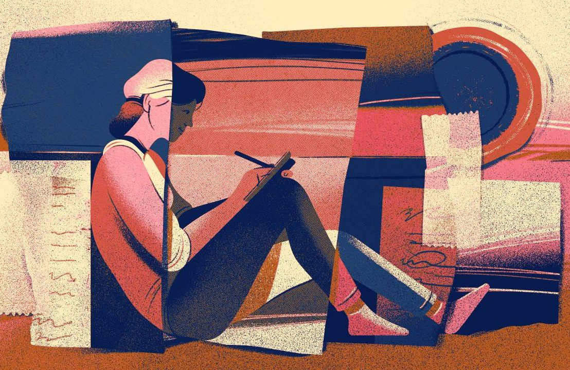 An illustration of a woman sitting down writing poetry. Next Avenue, poetry, poetry tips