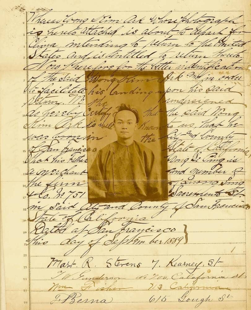 Archival document, an affidavit establishing the identity and nativity of Wong Kim Ark, c. 1889. Rewire PBS Our Future Chinese Exclusion
