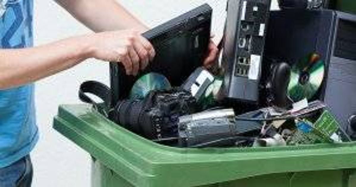 Putting used and old computer hardware into a recycling bin Broken Electronics pbs rewire