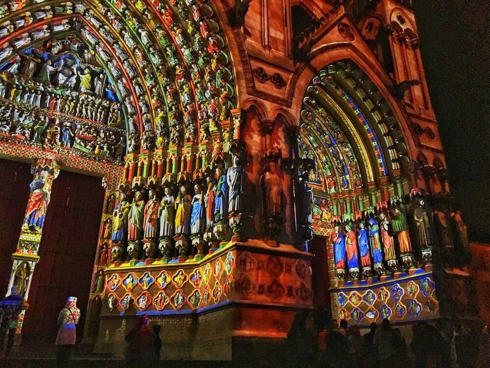 The brightly colored light show at Amiens Cathedral in Amiens, France, featured in