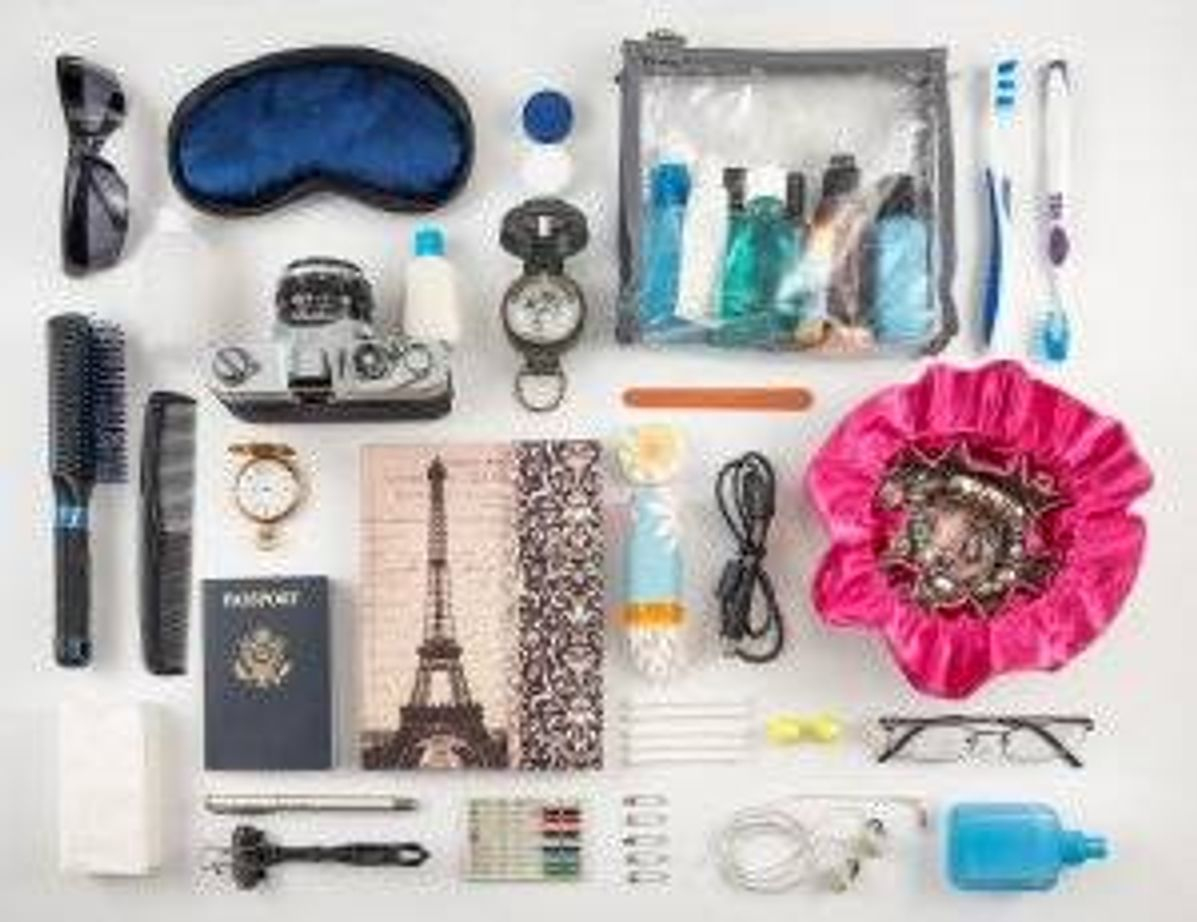Picture of essential travel items. Budget Airline pbs rewire