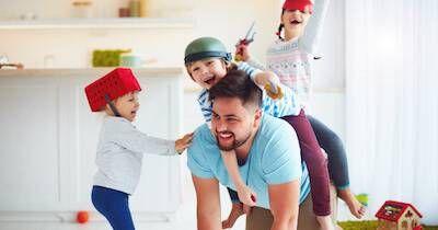 Friend letting his friend's kids ride him like a horse. Friend Becomes a Parent pbs rewire