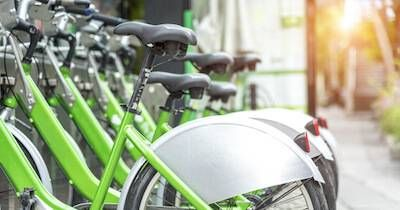 A row of bicycles available for renting. Car-Free pbs rewire