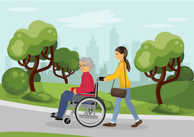 An illustration of a younger woman pushing an older person in a wheelchair. Rewire PBS Our Future Caregiving