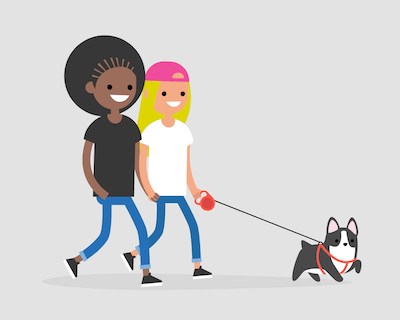 Animations of a lesbian couple walking their dog. Sharing a Pet pbs rewire